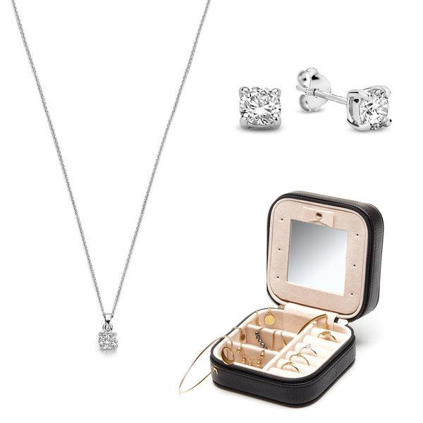Parte di Me Sorprendimi 925 sterling zilveren set oorknoppen, ketting en sieradendoos
