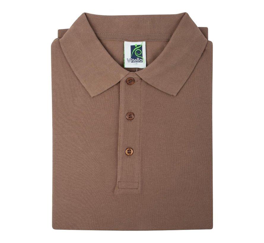 Vitello Polo comfort fit heren L, bruin, 1 stuk