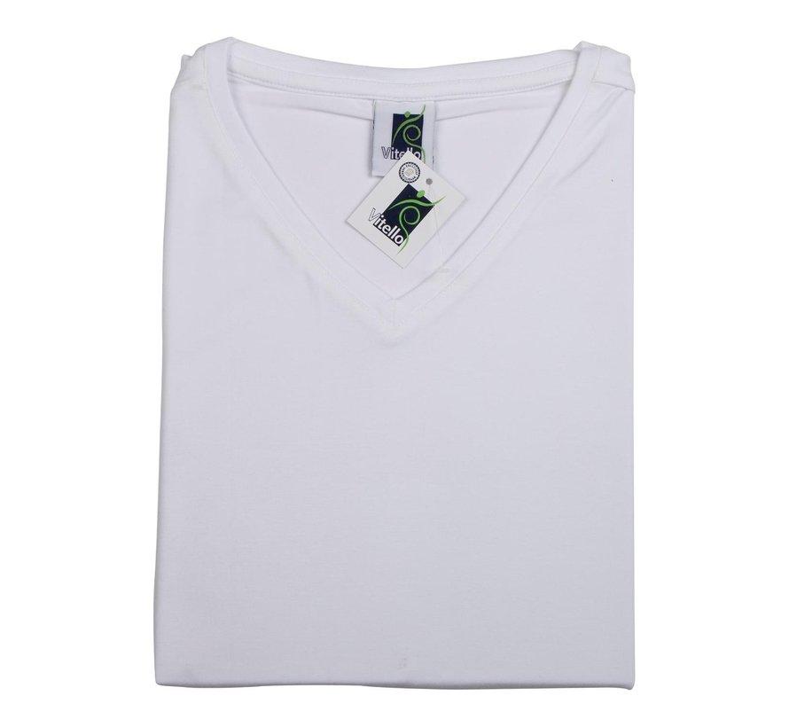 Vitello T-Shirt slim v-hals XS, wit, 1 stuk