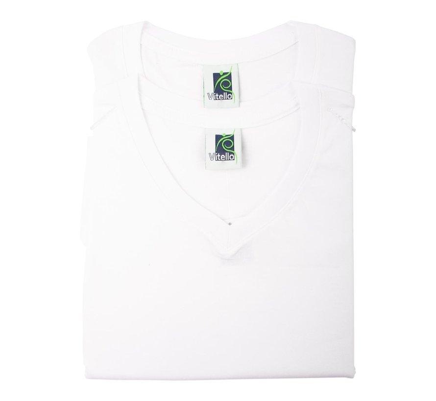Vitello T-Shirt comfort fit v-hals XL, wit, 2 stuks