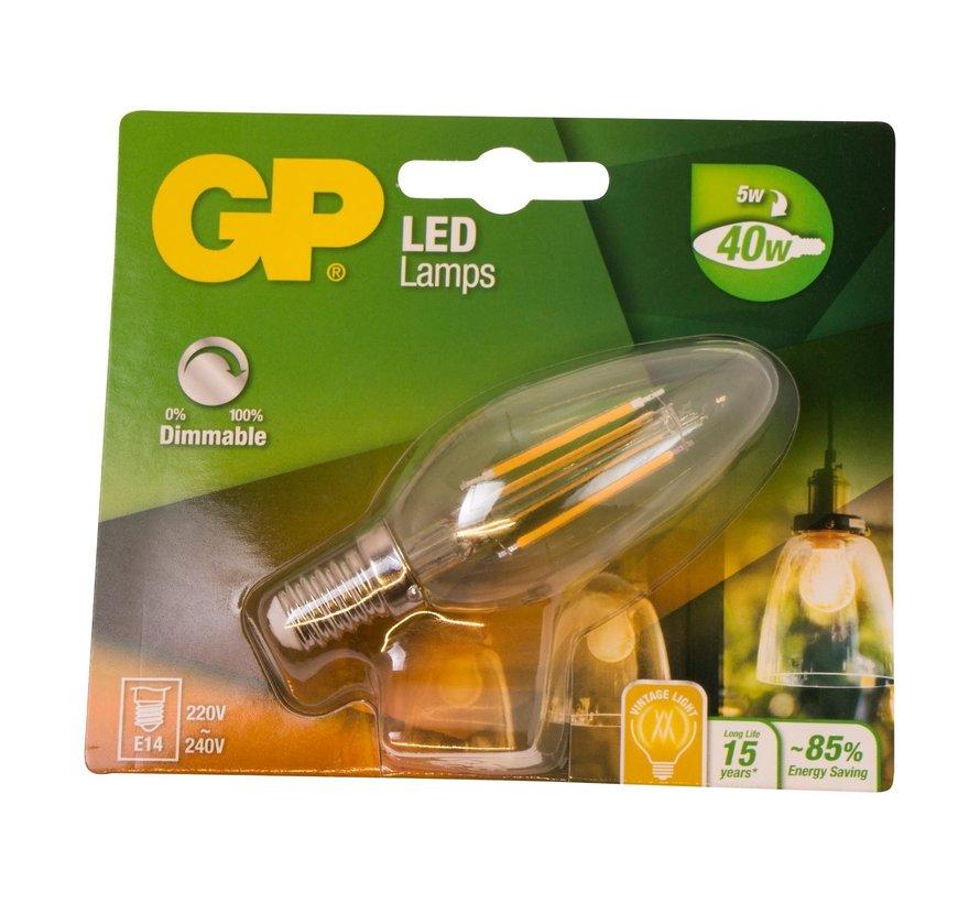 Gp LED-lamp Filament Kaars 5-40W E14 dimbaar, 1 stuk