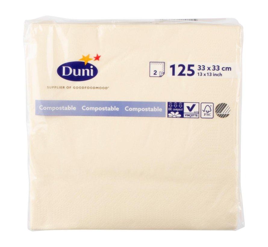 Duni Servetten 2-laags 33 x 33 cm, buttermilk, 125 stuks