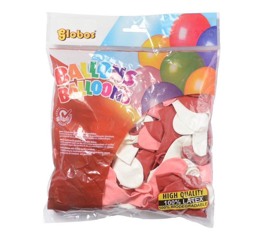 Globos Ballonnen onbedrukt, 25 cm rond, 100 stuks