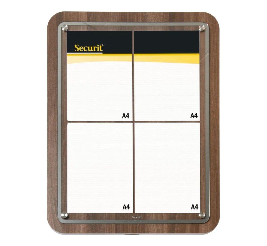 Securit Display glass star walnoot, 4 x A4, 1 stuk