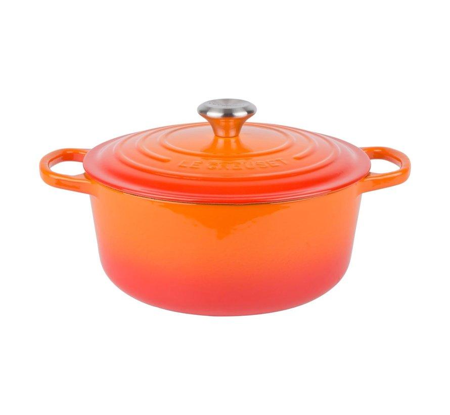 Le Creuset Braadpan met deksel rond 26 cm, oranje-rood, 1 stuk