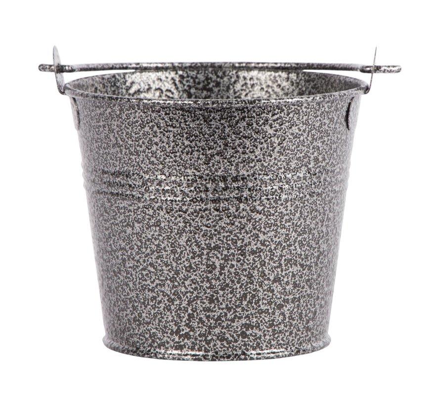 Servtrends Gegalvaniseerde stalen serveeremmer gehamerd 10 cm, zilver, 1 stuk