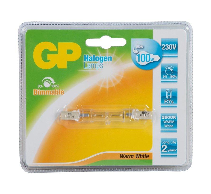 Gp Halogeen lamp linair 80 watt R7S, 1 stuk