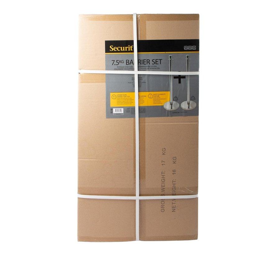 Securit Afzetpaal chroom plat 32 x 95 cm, 2 stuks