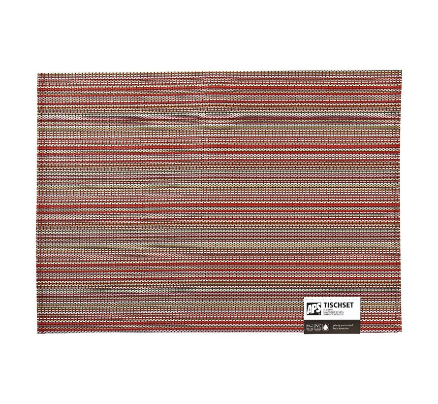 Aps Placemat lines 45 x 33 cm, rood-oranje, 1 stuk
