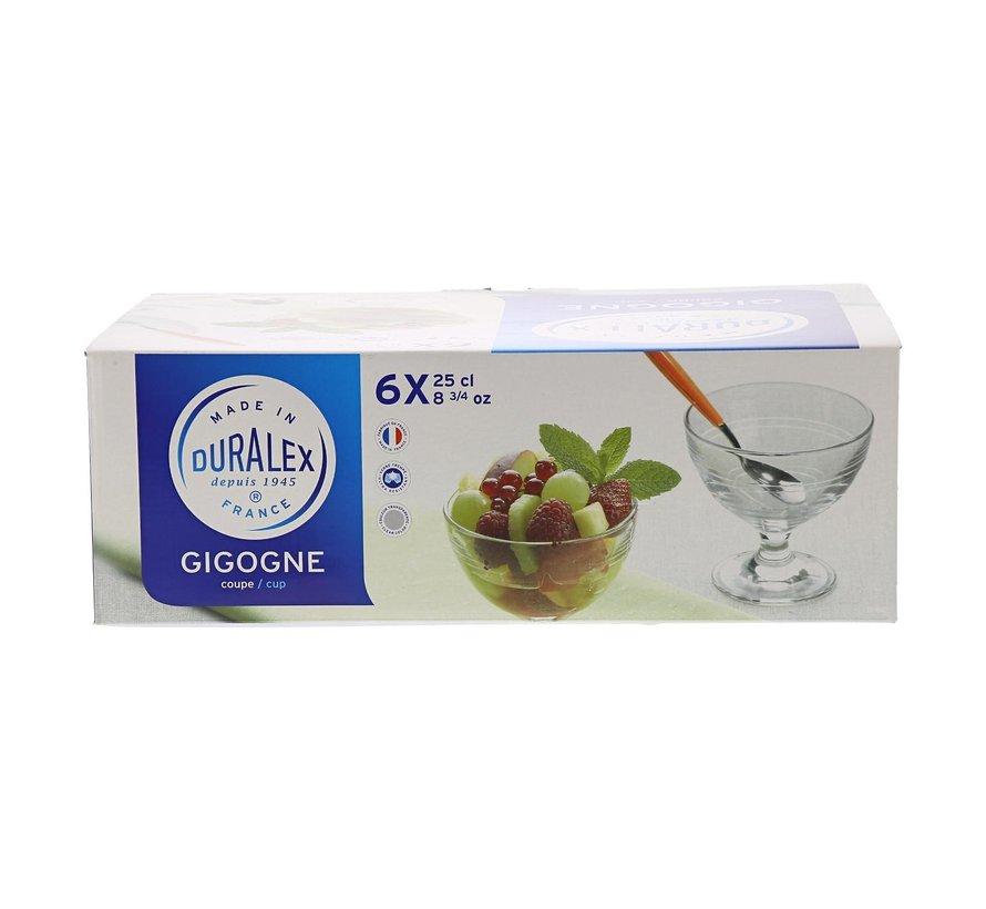 Duralex Gigogne ijscoupe transparant, 25 cl, 6 stuks