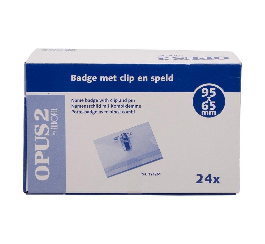 Badge met clip en speld 65 x 95 mm, 24 stuks