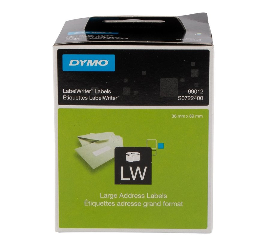 Dymo Labeletiket 89 x 36 mm, 2 rollen