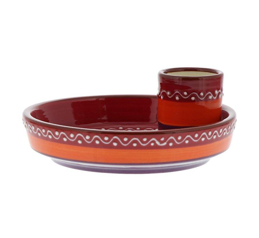 Bowl&Dishe Olijvenbord Rood met pinchohouder, 15 cm, 1 stuk