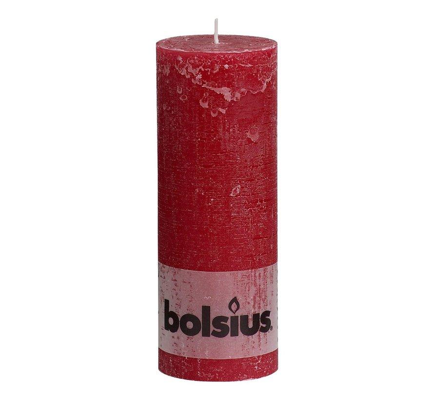 Bolsius Stompkaars rustiek 190 x 68 mm, wijnrood, 1 stuk
