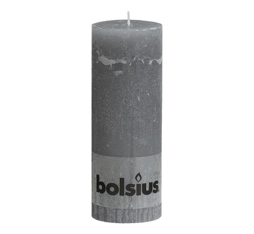 Bolsius Stompkaars rustiek 190 x 68 mm, grijs, 1 stuk