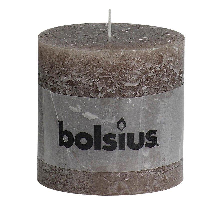 Bolsius Stompkaars rustiek 100 x 100 mm, Bruin, 1 stuk