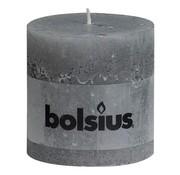 Bolsius Bolsius Stompkaars rustiek 100 x 100 mm, lichtgrijs, 1 stuk