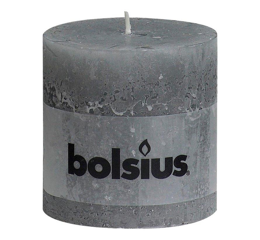 Bolsius Stompkaars rustiek 100 x 100 mm, lichtgrijs, 1 stuk