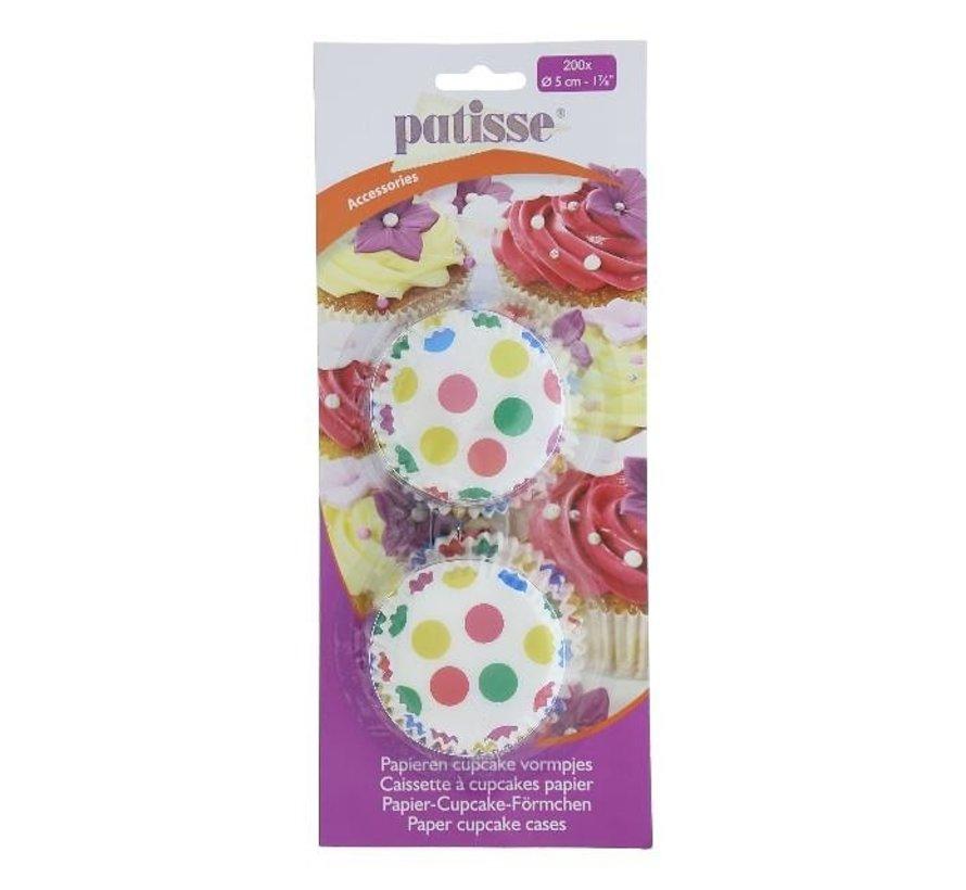 Patisse Papieren cupcake vormpjes Confetti 3 cm, 200 stuks