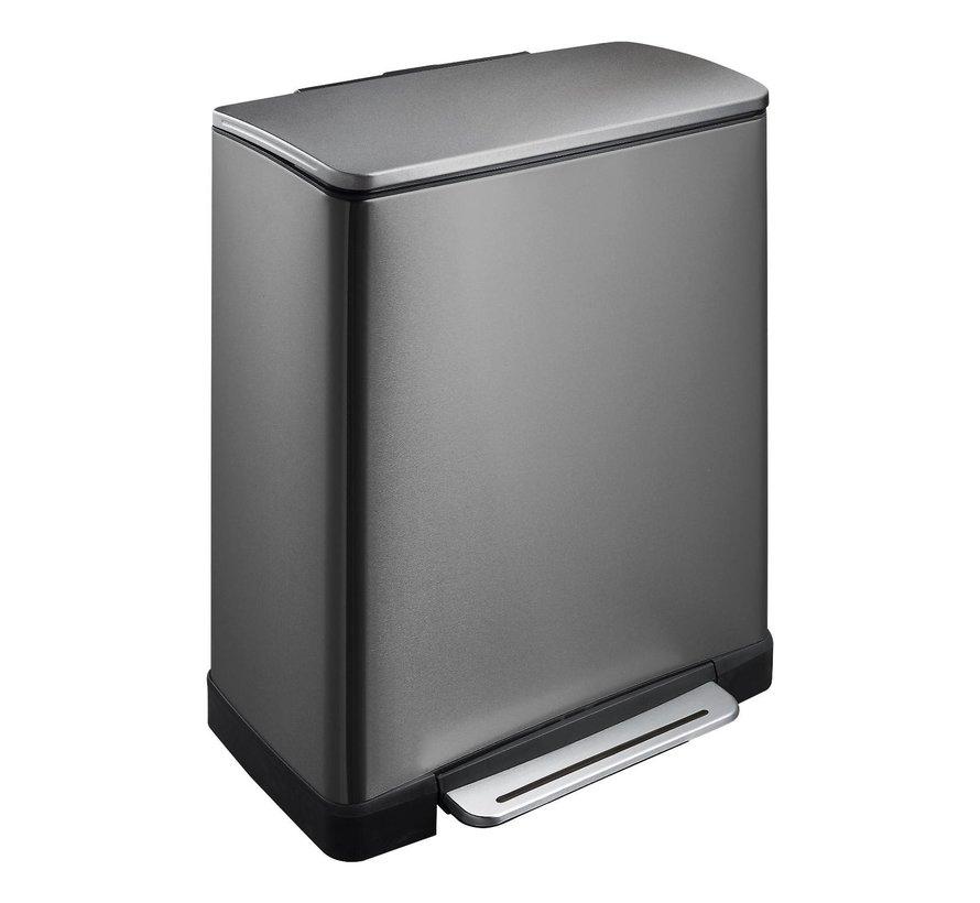 Eko Afvalbak E-cube recycle 18 + 28 L, black steel, 1 stuk