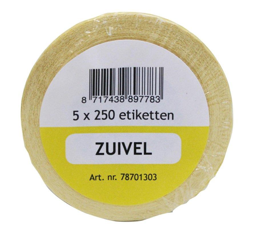 Labellord Refillset removable 250 stuks, geel, 5 rollen