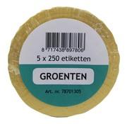 Overige merken Labellord Refillset removable 250 stuks, groen, 5 rollen