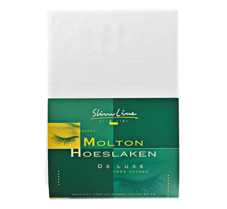 Slimline Molton hoeslaken 180 x 200, 1 stuk