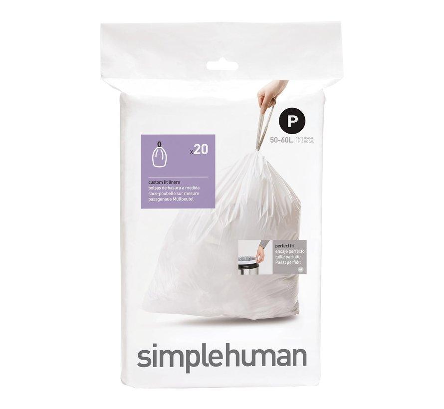 Simple Hum Afvalzakken code P Pasvorm liners 50-60 liter, wit, 20 stuks