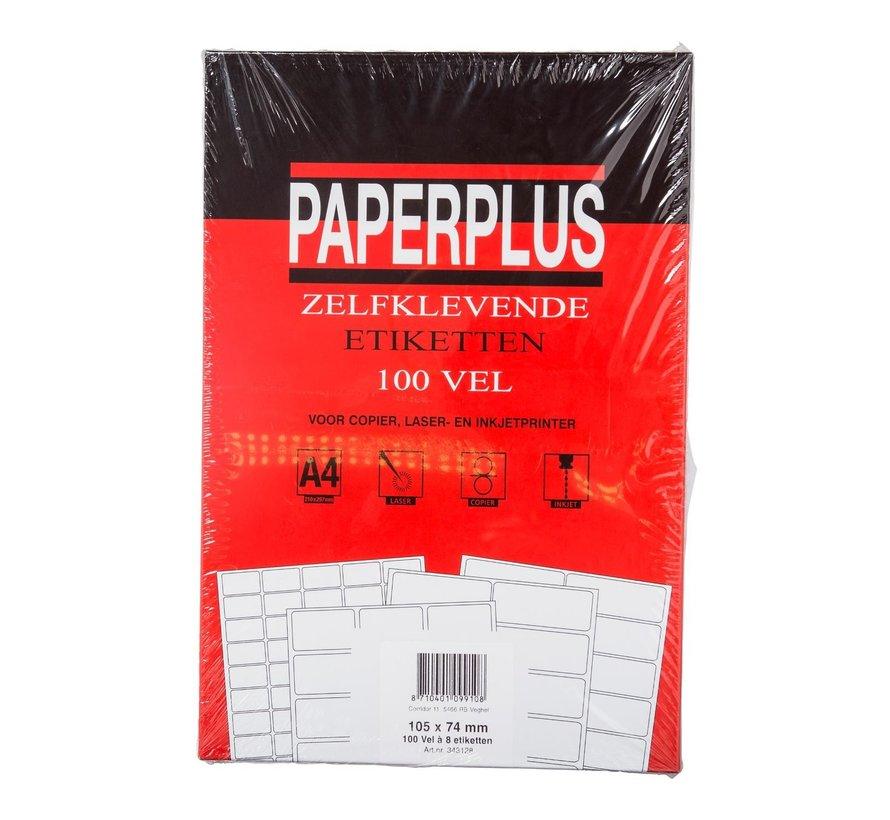 Paperplus Zelfklevende etiketten A4 105 x 74 mm, 100 stuks