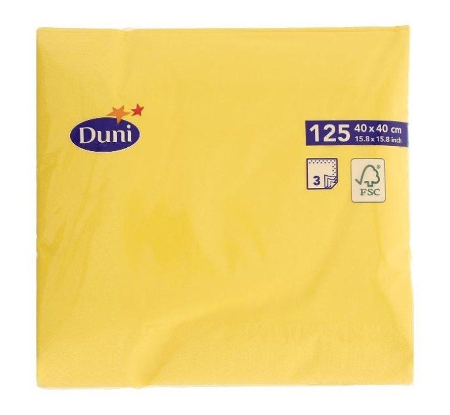 Duni Servetten 3-laags 40 x 40 cm, geel, 125 stuks