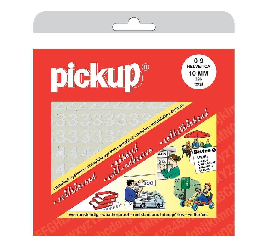 Pickup Cijferboek 0 t/m 9 Helvetica 10 mm wit, 1 stuk
