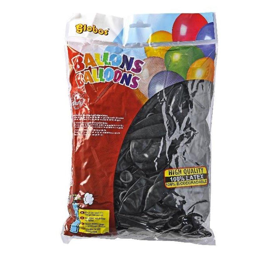 Globos Ballonnen onbedrukt, zwart 30 cm, 100 stuks