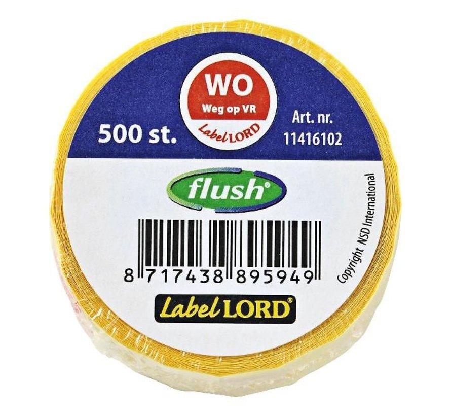 Labellord Flush WO Weg op VR, 500 stuks