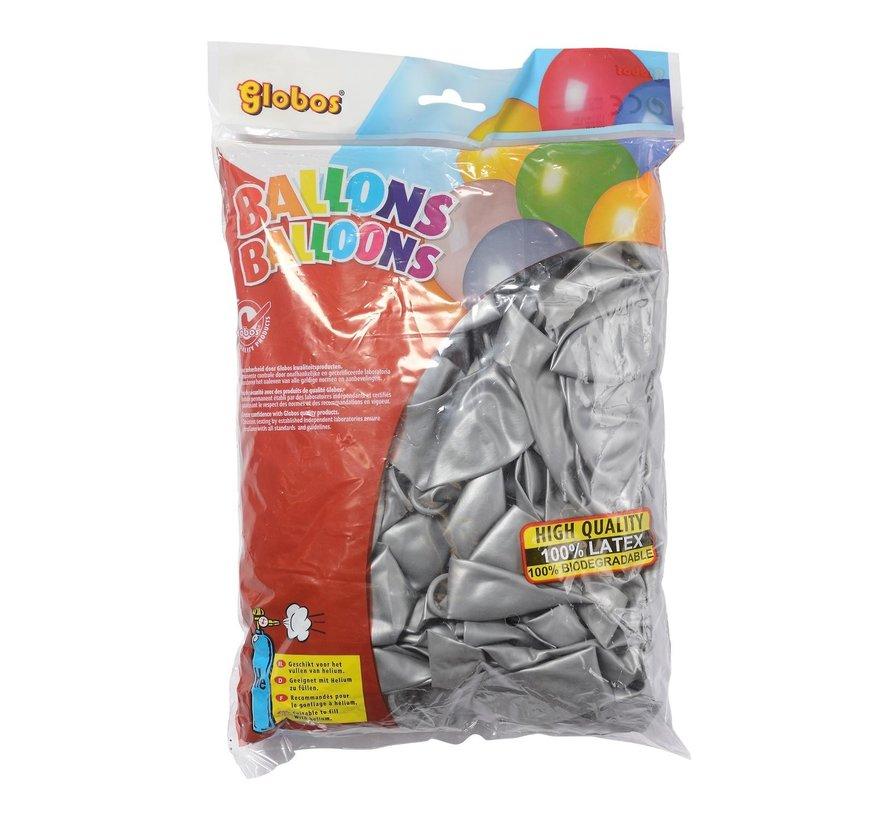 Globos Ballonnen zilver, onbedrukt, 100 stuks