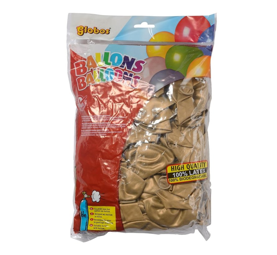 Globos Ballonnen onbedrukt, goud, 100 stuks