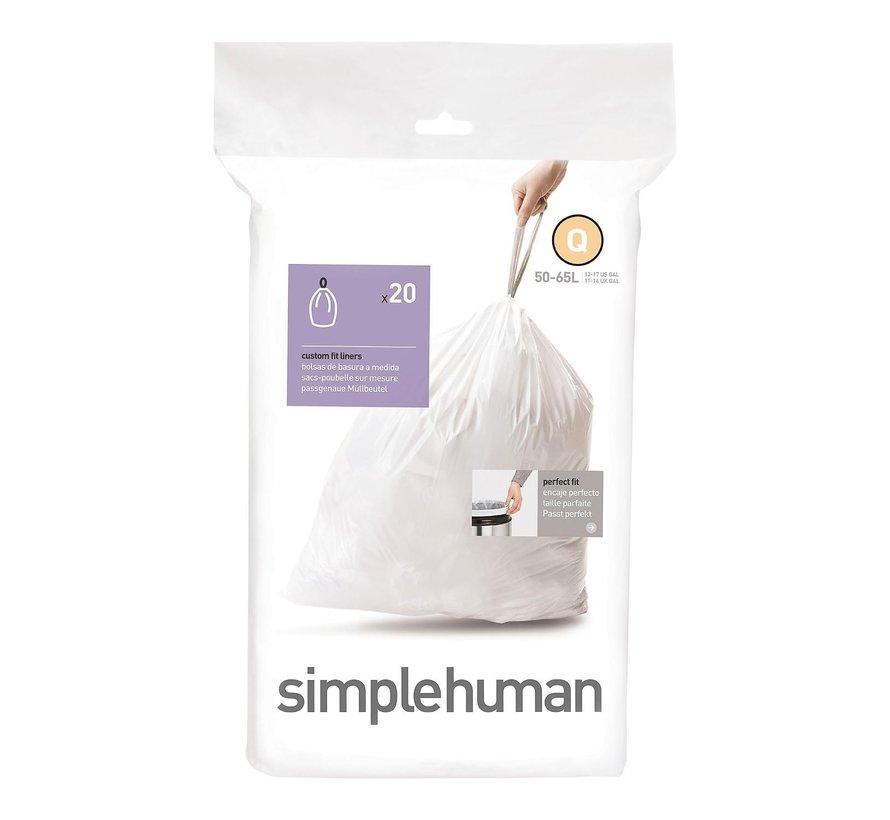 Simple Hum Afvalzakken code Q Pasvorm liners 50 liter, wit, 20 stuks
