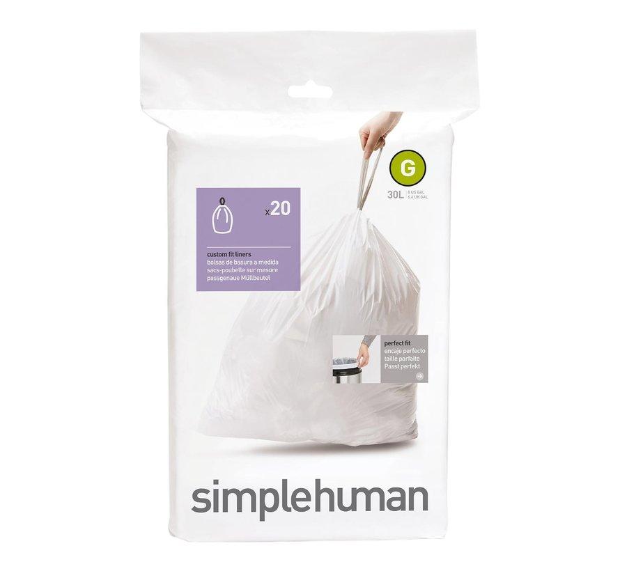 Simple Hum Afvalzakken code G Pasvorm liners 30 liter, wit, 20 stuks
