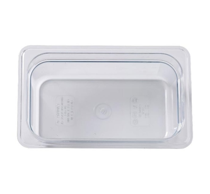 Camwear Gastronormbak helder transparant 1/4 x 100 mm polycarbonaat, 1 stuk