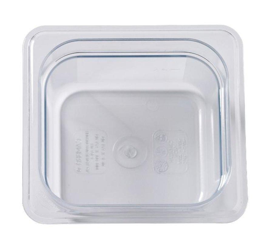 Camwear Gastronormbak helder transparant 1/6 x 100 mm polycarbonaat, 1 stuk