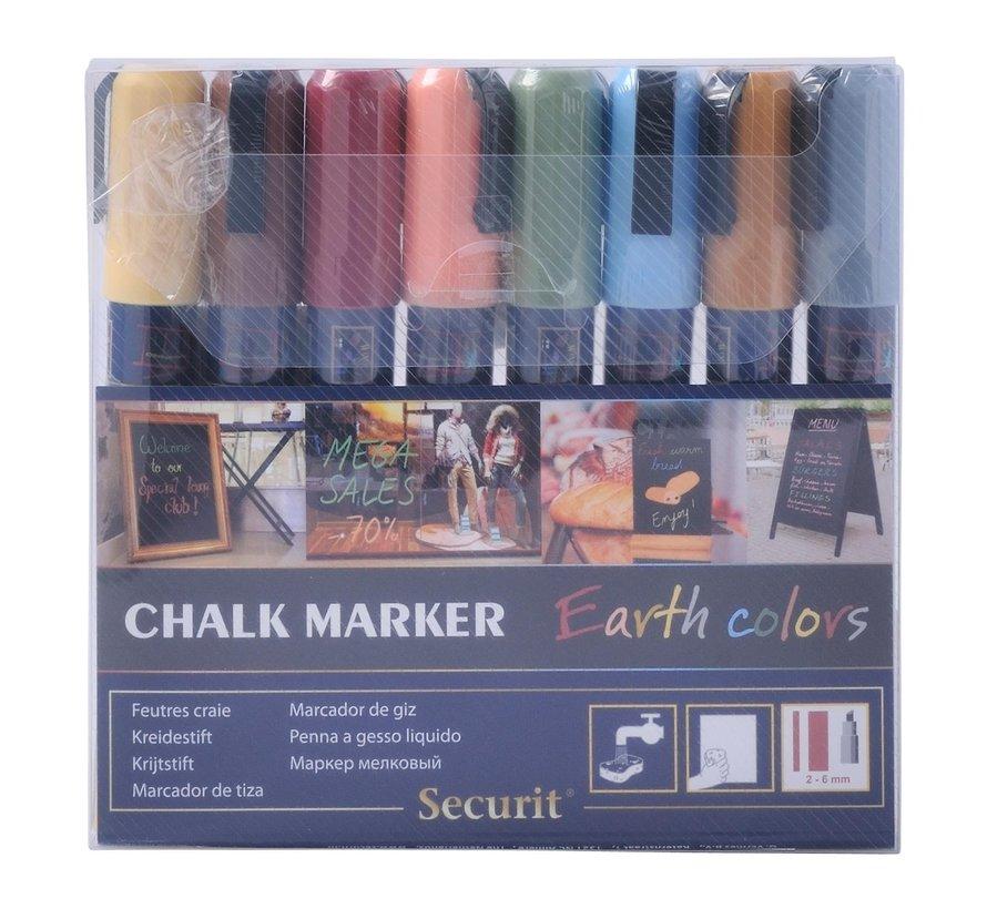 Securit Krijtstift 2-6 mm, Earth colors, 8 stuks