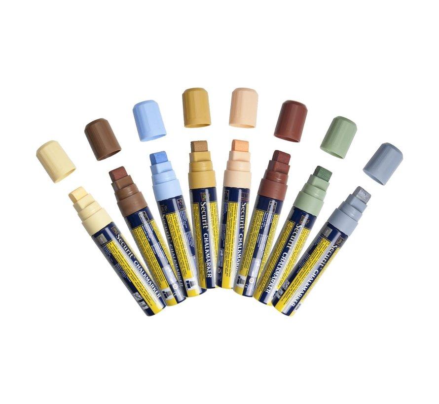 Securit Krijtstift 7-15 mm, Earth colors, 8 stuks