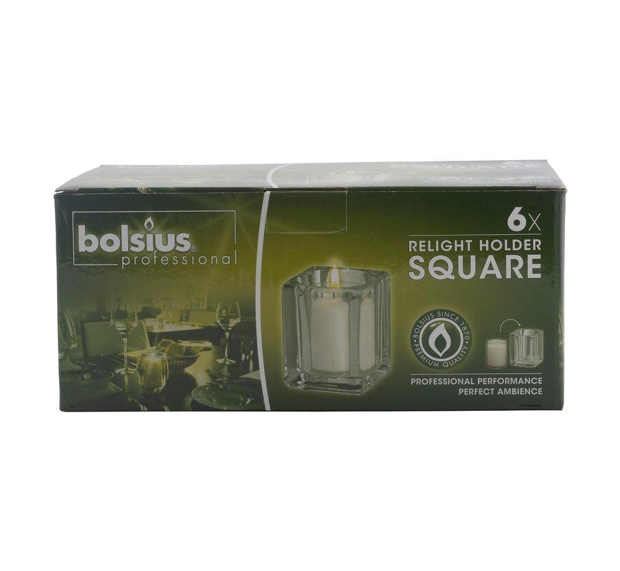 Bolsius Relight houder square, 6 stuks