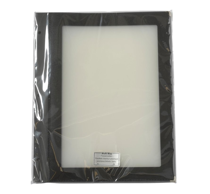 Tussenvellen zwart/transparant A4, 5 stuks