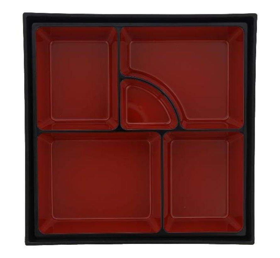 Tokyo Desi Bentobox ABS zwart/rood, 1 stuk