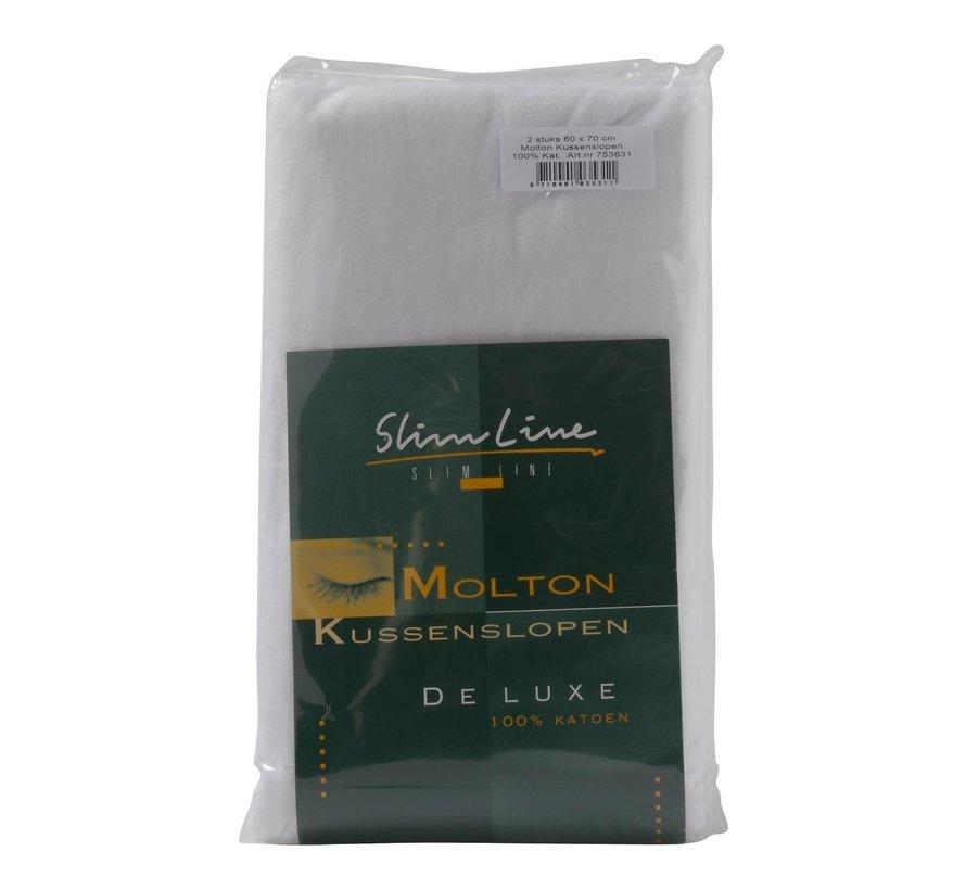 Slimline Molton kussensloop 60 x 70 cm, 2 stuks