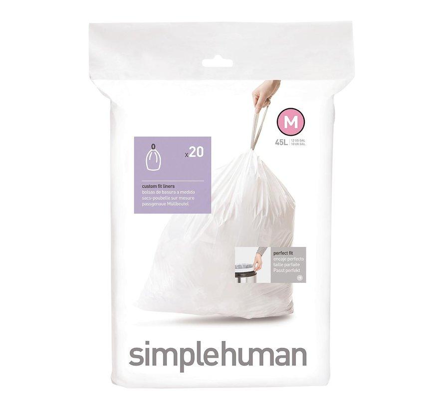 Simple Hum Afvalzakken code M Pasvorm liners 45 liter, wit, 1 stuk