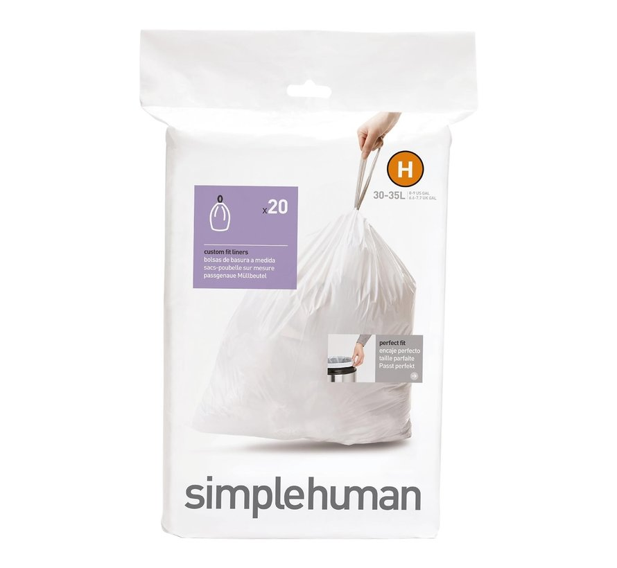 Simple Hum Afvalzakken code H Pasvorm liners 30-35 liter, wit, 1 stuk