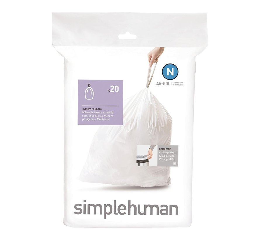 Simple Hum Afvalzakken code N Pasvorm liners 45 liter, wit, 1 stuk