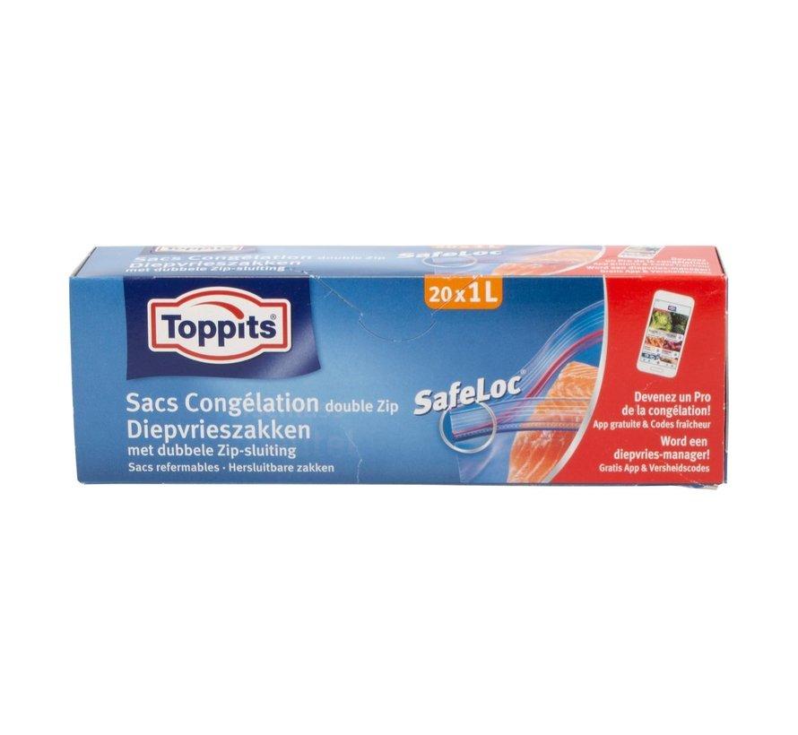 Toppits Safeloc 1 liter diepvrieszakken, 6 maal 20 stuks