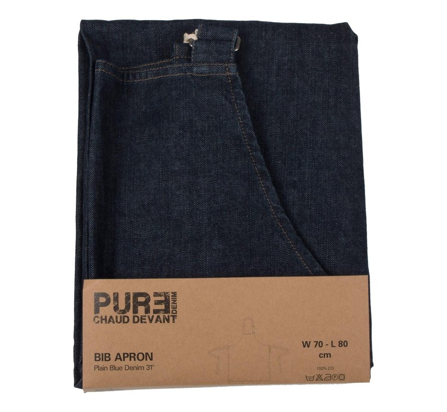 Chaud Devant Bib apron plain blue denim 31 Blue Denim, 1 stuk
